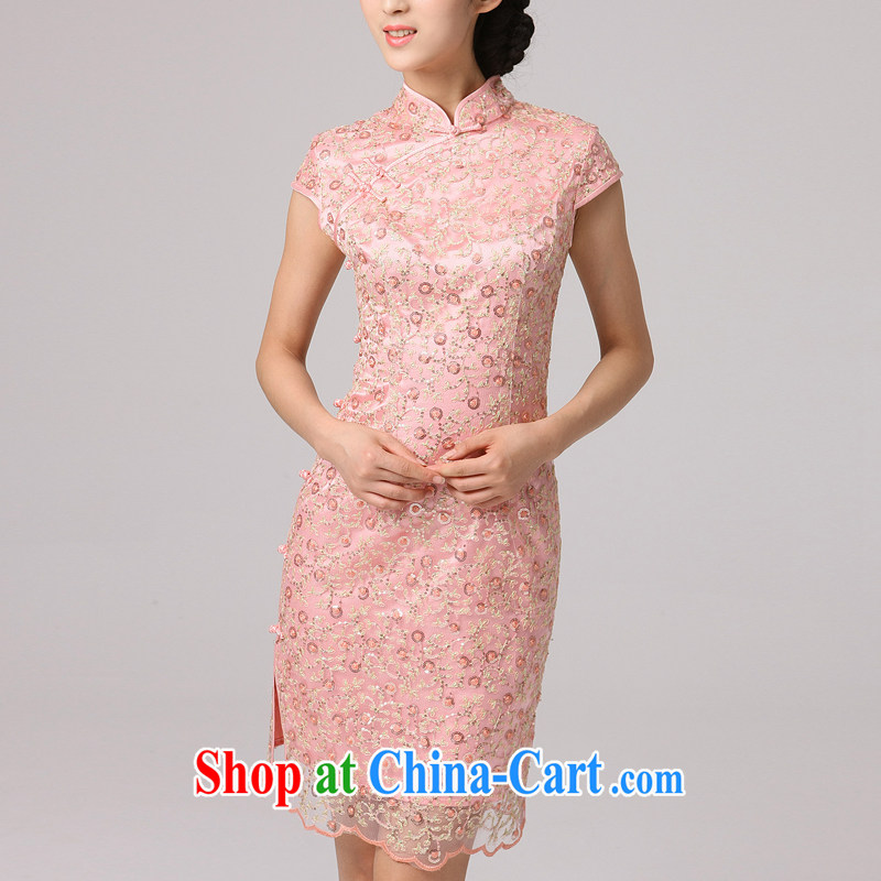 2014 summer dresses female beauty female bridesmaid with improved stylish girl-dresses lace Bride with pink XXL