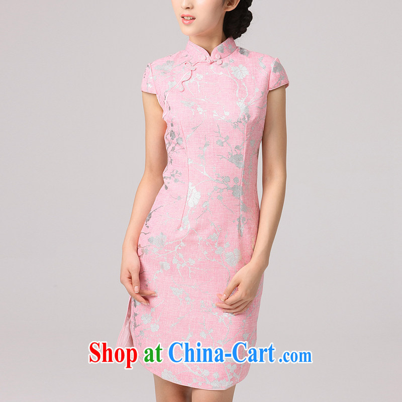 2014 summer dresses girls dresses improved qipao cotton Ma hot gold shoulder cuff hand-tie cheongsam dress pink XXL