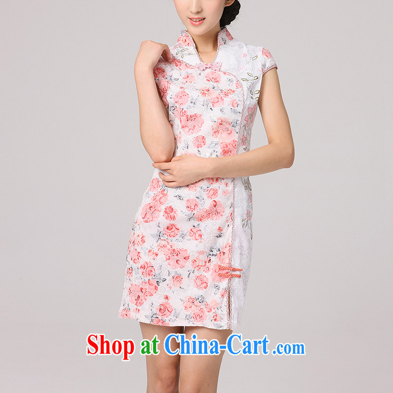 2014 summer dresses female peony flower retro dresses improved stylish dresses digital printing short cheongsam red XXL