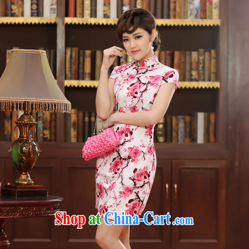 Dresses 2014 summer retro daily improved stylish beauty short cheongsam dress Ethnic Wind stamp cheongsam pink XXL