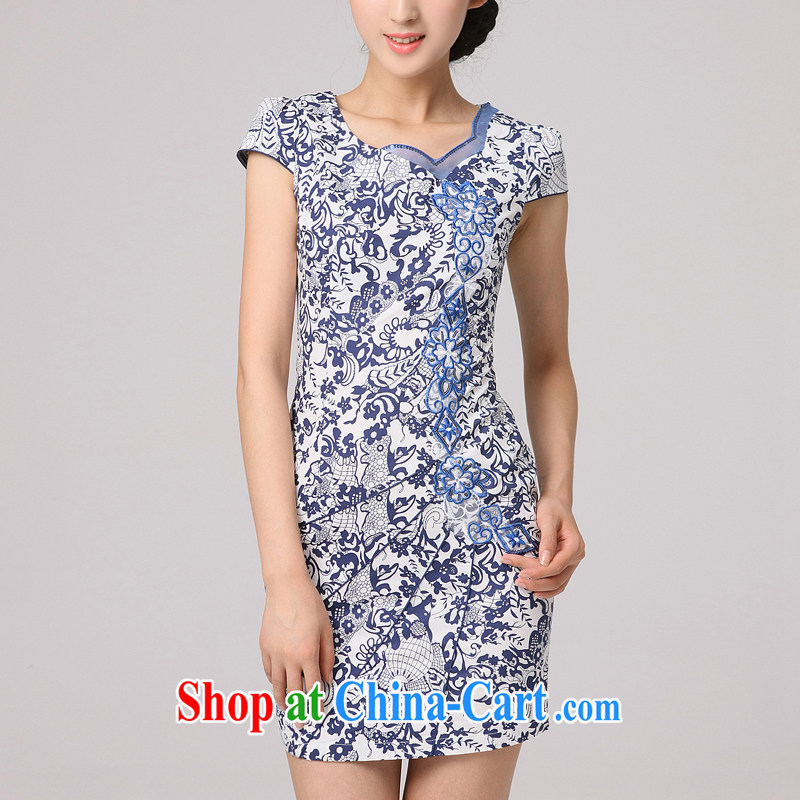 2014 summer dresses female blue and white porcelain dress retro style short, improved stylish blue US qipao dress blue floral XXL
