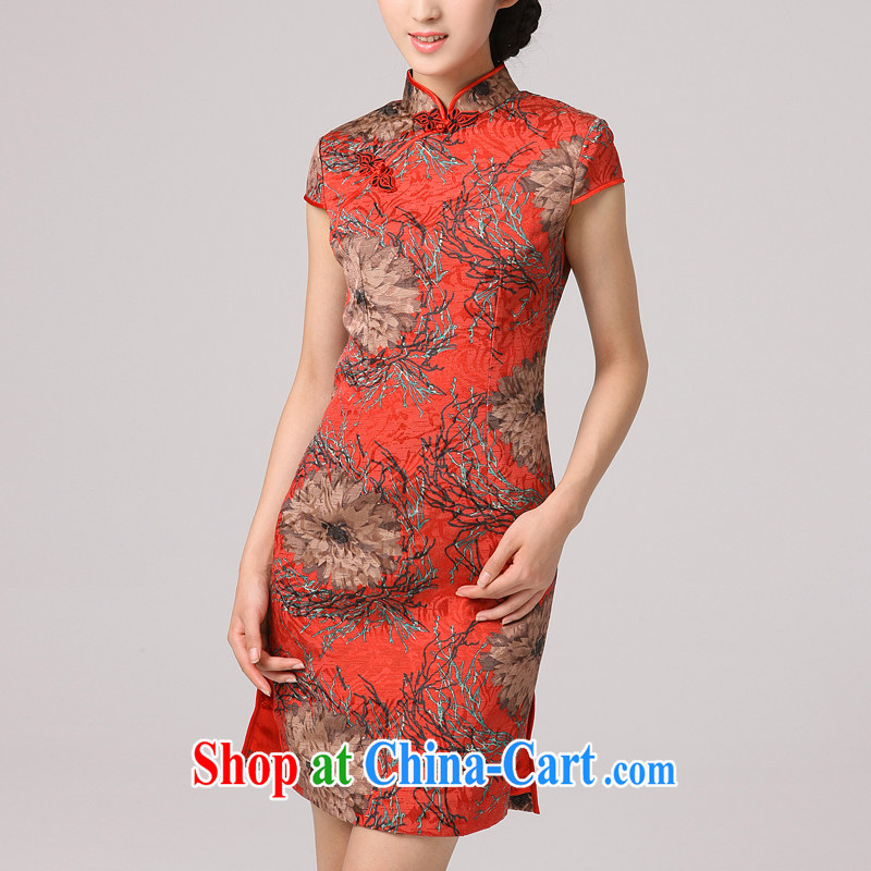 2014 summer dresses girls dresses improved retro elegant cheongsam dress jacquard stamp red bows clothes red XXL