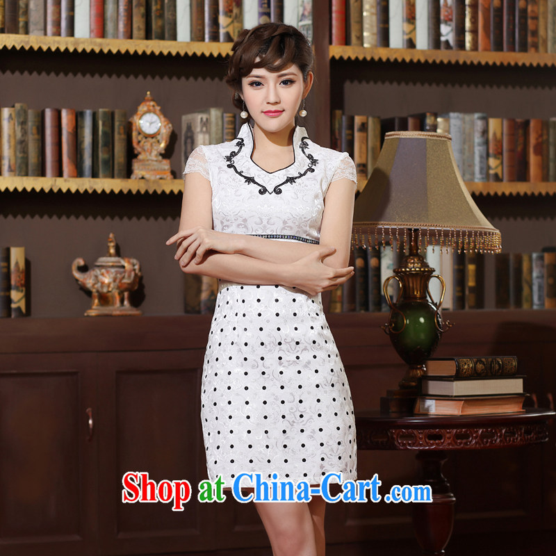 2014 summer dresses women's clothing style retro elegant dresses stylish and improved graphics thin daily white robes black XXL