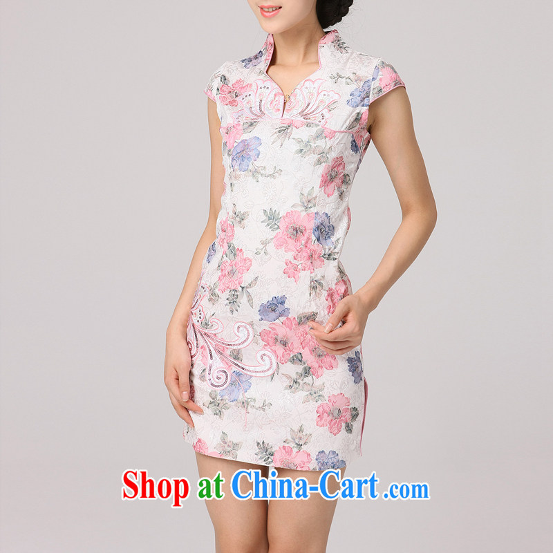 robes women 2014 summer new improved style, short, daily outfit dresses new cheongsam pink XXL