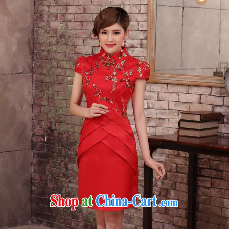 2014 summer women dresses fashion dress cheongsam dress improved Chinese bride short cheongsam dress wedding dress red XXL