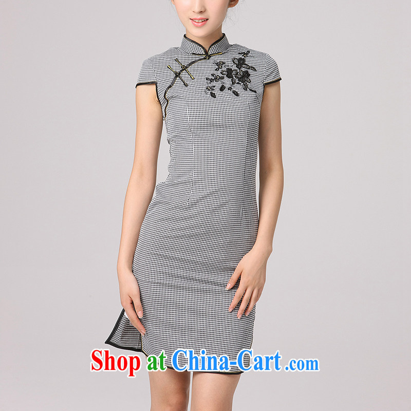 Dresses 2014 summer retro Ethnic Wind improved cultivation daily fine embroidered Korea Daily Short cheongsam tartan XXL