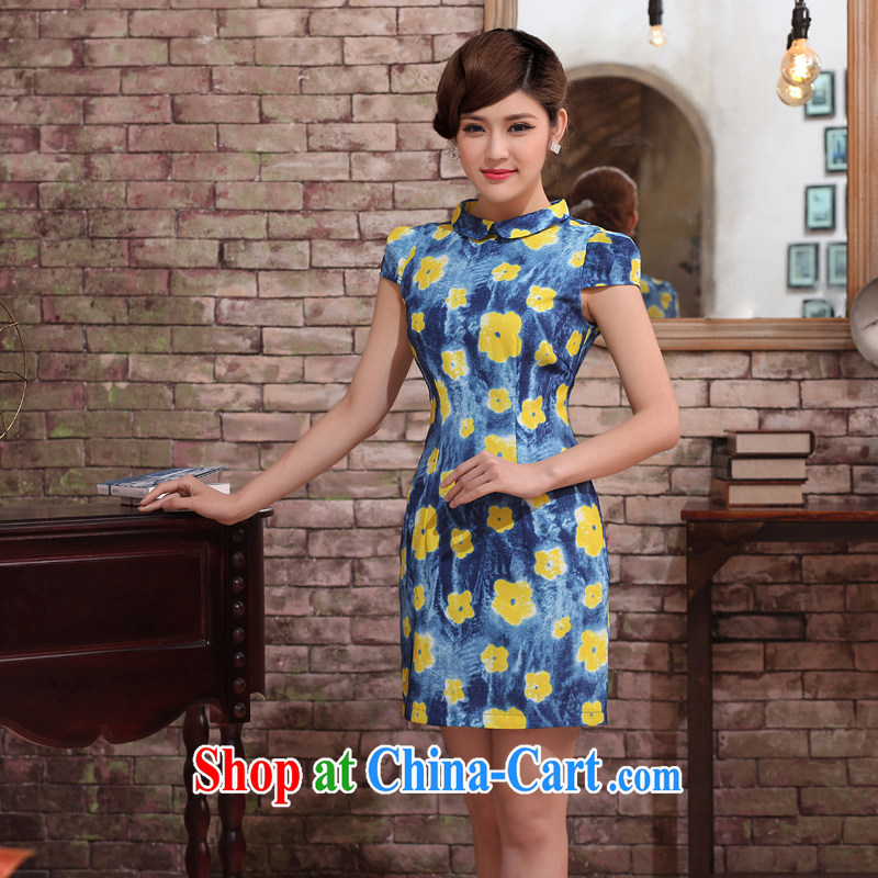 robes women 2014 summer new stylish cheongsam dress Chinese improved retro chopper Huanghua improved short-sleeve dresses blue XXL