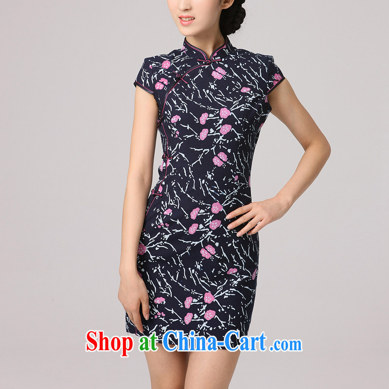 2014 summer dresses female Korea Daily noble stamp retro beauty charm graphics thin improved cheongsam by red tie cheongsam XXL