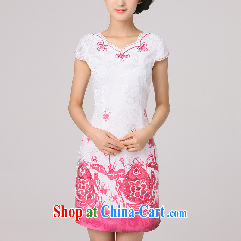 2014 summer dresses women's clothing dresses improved daily cash back auspicious fish stamp cheongsam dress with skirt of red XXXL