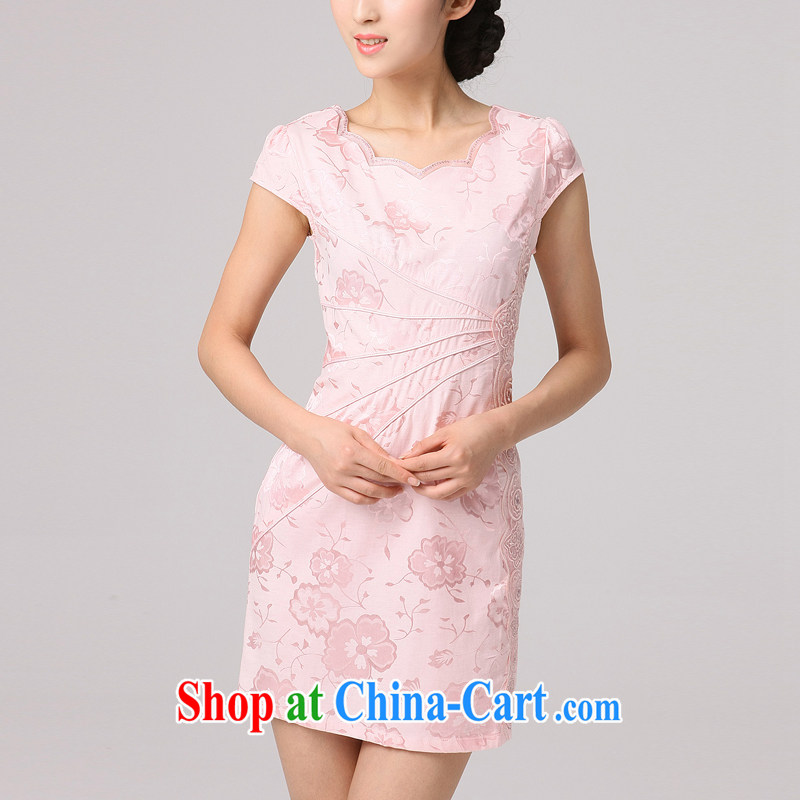 2014 summer dresses girls improved stylish beauty cheongsam dress retro beauty female short cheongsam sexy pink XXL