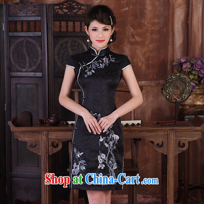 2014 summer dresses female temperament Phillips improved Stylish retro beauty Everyday Women cheongsam dress black XXL