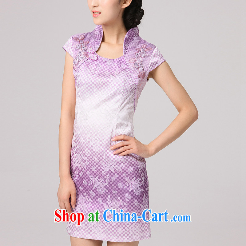 2014 summer dresses Women Fashion dresses improved the grid pattern, stamp duty for everyday dresses skirts female purple XXL