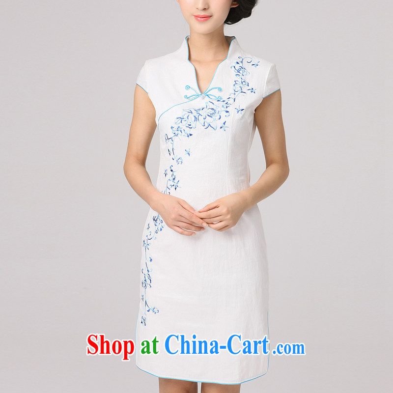 2014 summer dresses girls improved stylish short cheongsam dress daily short-sleeve and collar-waist retro dresses white XXL