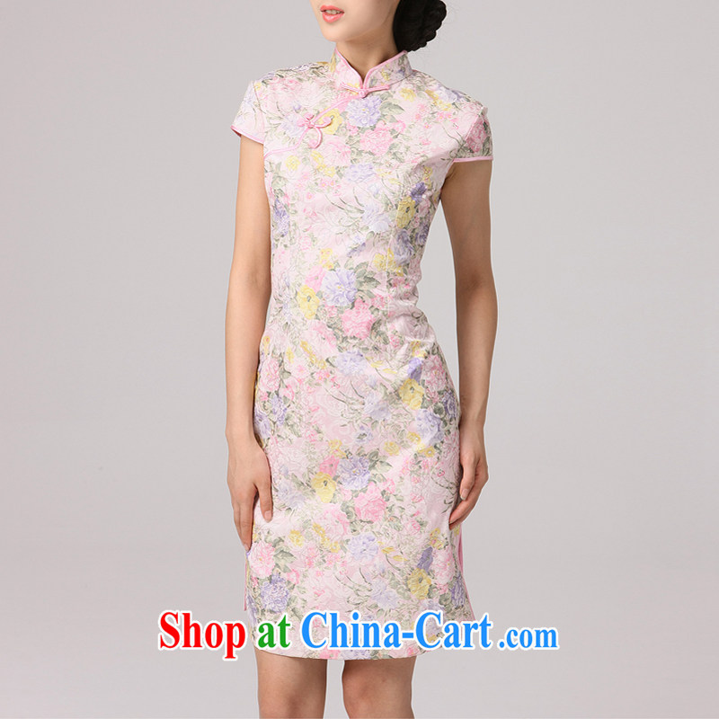 2014 summer dresses female-tang with improved national wind cultivating short-sleeved daily cheongsam dress floral fresh and elegant pink XXL