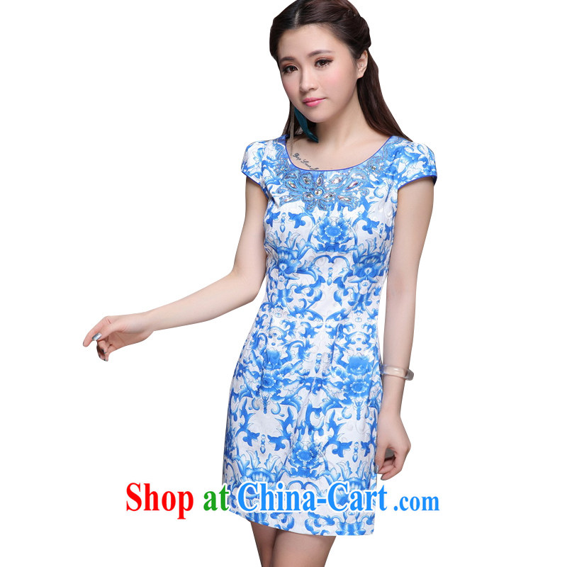 Stakeholders line cloud 2014 new high-end ethnic wind stylish Chinese qipao dress retro beauty graphics thin cheongsam ZM 9901 blue blue XXL