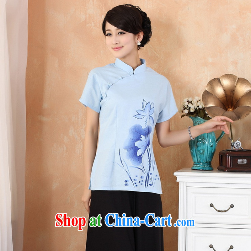 Take the 2014 new dresses T-shirt cotton the larger Chinese female improved Han-Chinese, summer 2373 - 1 - 1 light blue 4 XL