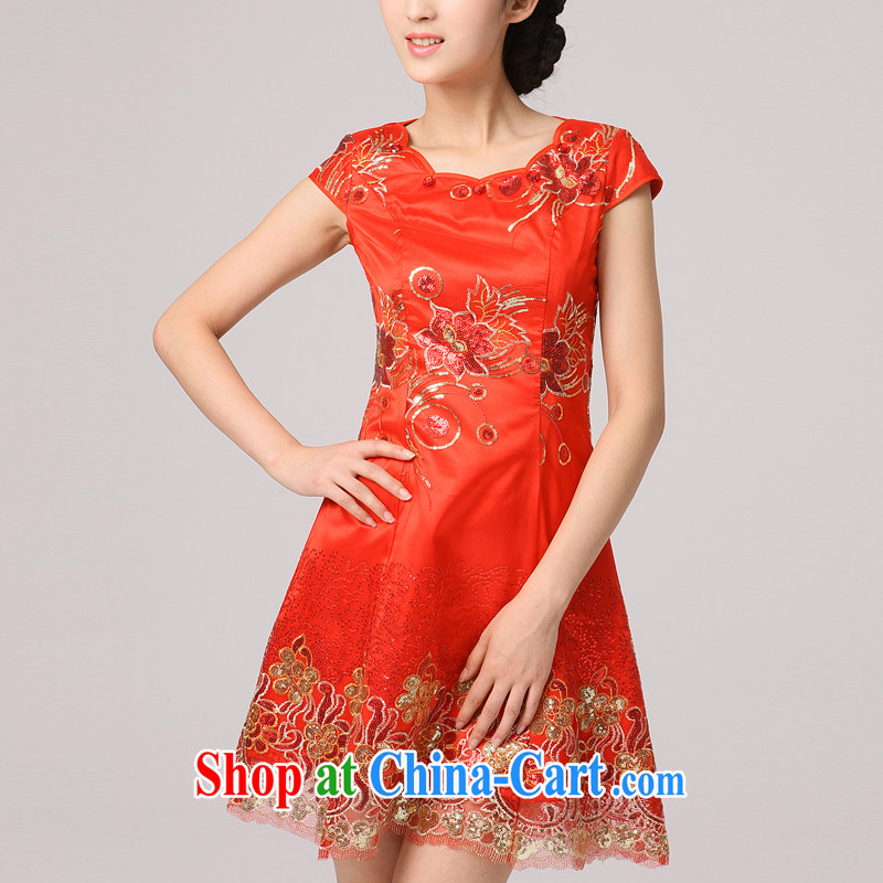 Dresses bridal wedding dresses wedding dresses short red, antique Chinese Embroidery bows stage serving petal collar large red XXXL