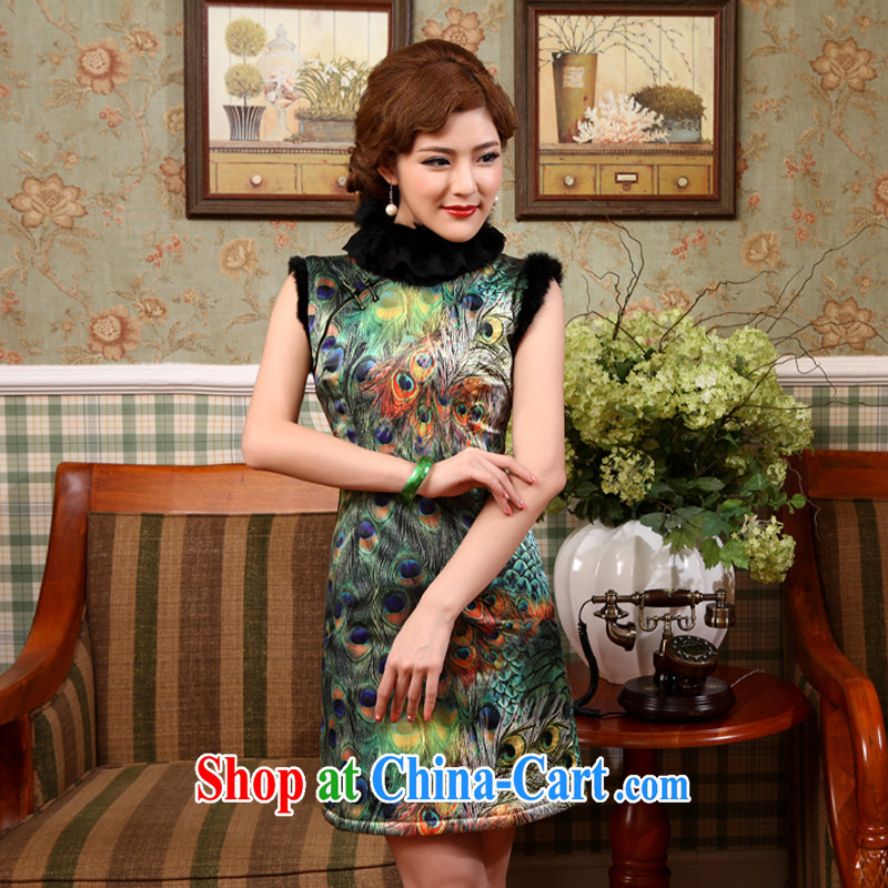 Dresses 2014 improved stylish winter New Folder cotton cheongsam Chinese Antique cheongsam dress everyday dress picture color 2 XL