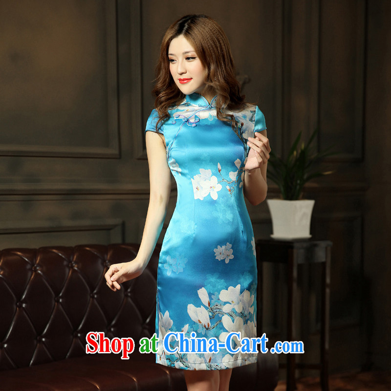 Dresses 2014 new summer short improved fashion cheongsam classical charm lady beauty graphics thin cheongsam blue XXL
