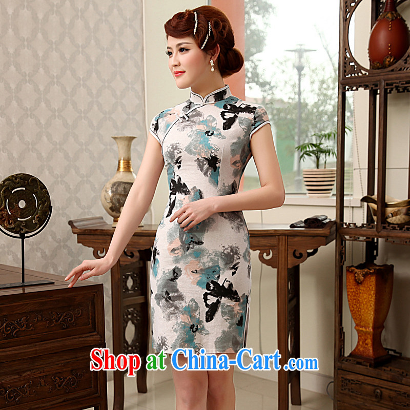 Dresses 2014 summer hot selling cotton robes the burglary hot selling retro fashion beauty linen short cheongsam white XXL