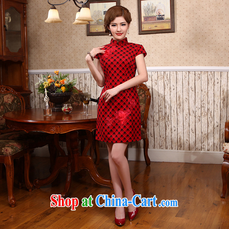 Dresses 2014 summer NEW classic traditional dress tartan outfit improved Tang replace short cheongsam X 587 red 2 XL