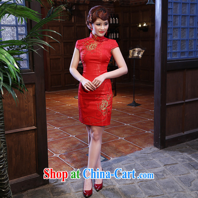 Dresses 2014 summer new daily improved retro cotton cultivating embroidery cheongsam dress dresses red XXL