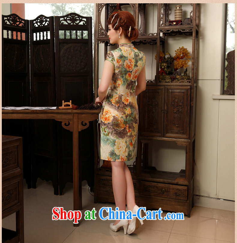 Dresses 2014 summer New Silk Cheongsam improved stylish short-sleeved Silk Cheongsam dress orange XXL pictures, price, brand platters! Elections are good character, the national distribution, so why buy now enjoy more preferential! Health