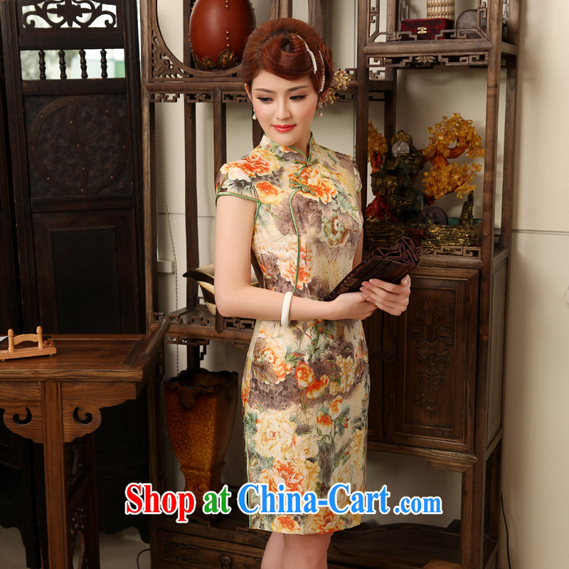 Dresses 2014 summer New Silk Cheongsam improved stylish short-sleeved Silk Cheongsam dress orange XXL