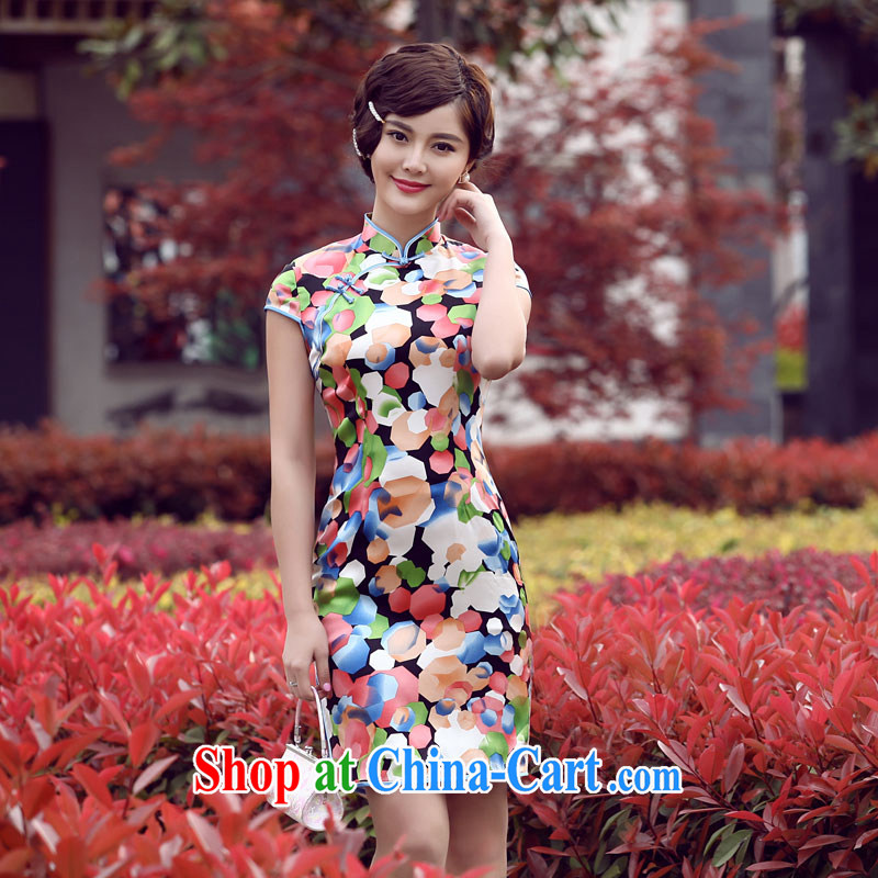 Dresses 2014 summer new stylish improved cheongsam dress retro dresses summer skirt stylish short cheongsam 7 color flower XXL