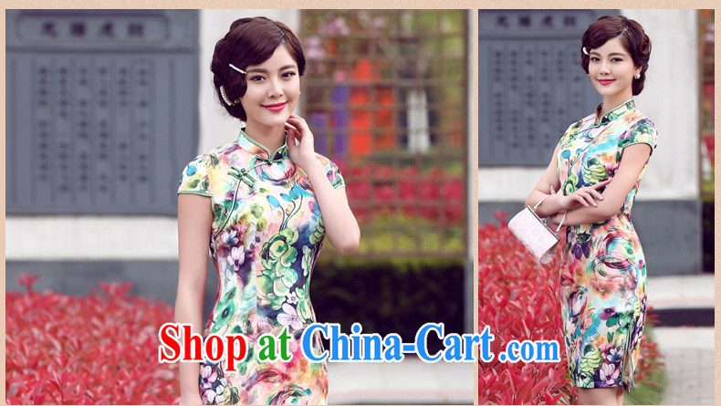 Dresses 2014 summer new, improved daily stamp cheongsam dress summer stylish short cheongsam green XXL pictures, price, brand platters! Elections are good character, the national distribution, so why buy now enjoy more preferential! Health