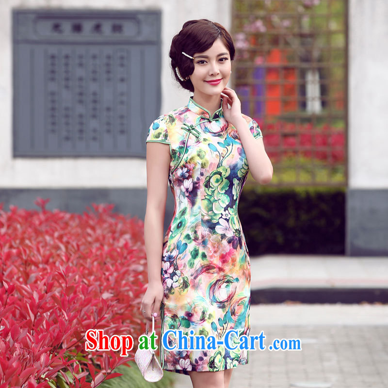 Dresses 2014 summer new improved daily stamp cheongsam dress summer stylish short cheongsam green XXL