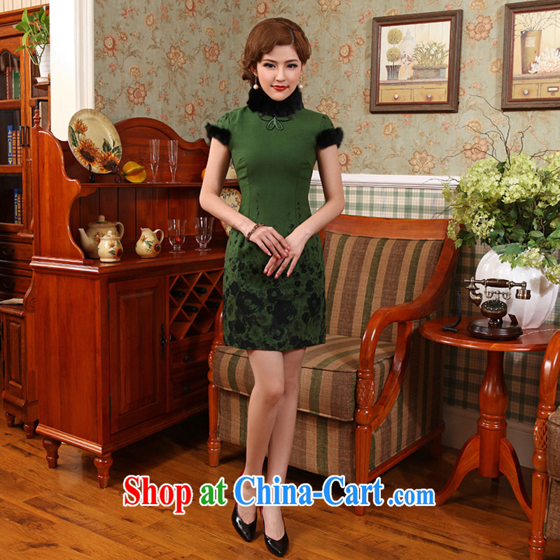 Dresses 2014 winter new winter clothes for gross short clip cotton day dresses skirts improved Tang Replace X 601 green 2 XL