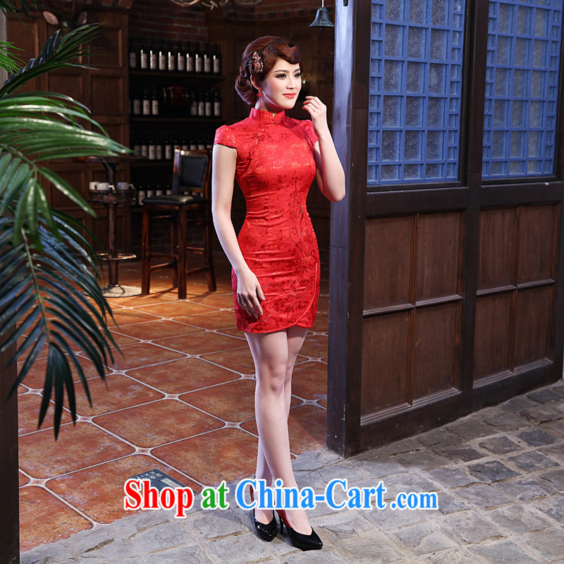 Dresses 2014 summer new marriages, embroidery-yi improved fashion cheongsam dress red XXL