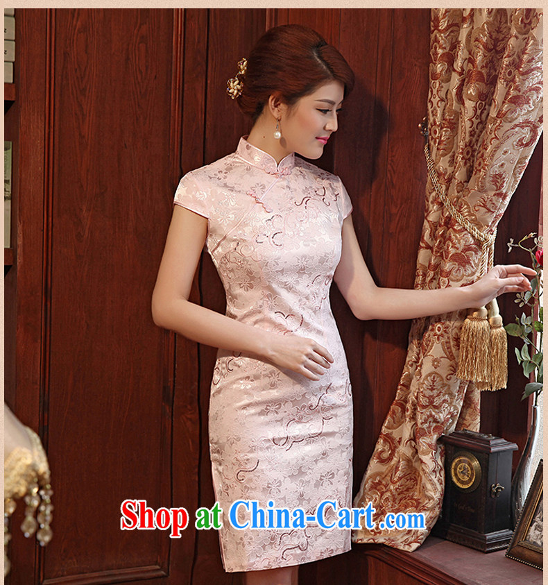Dresses 2014 summer new, embroidery flowers short with Chinese improved cheongsam dress cheongsam pink XXL pictures, price, brand platters! Elections are good character, the national distribution, so why buy now enjoy more preferential! Health