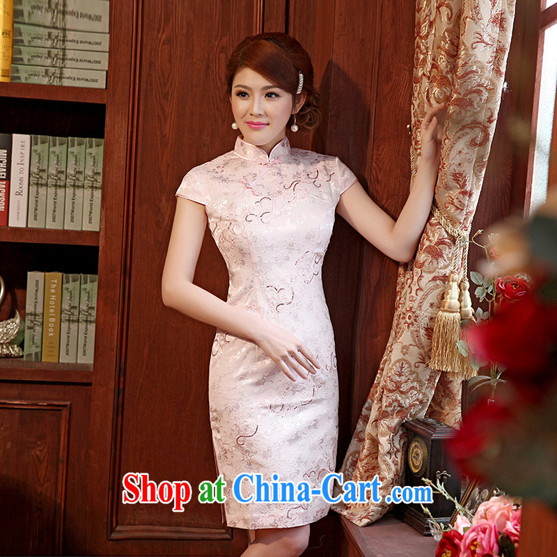 Dresses 2014 summer new, embroidery flowers short with Chinese improved cheongsam dress cheongsam pink XXL