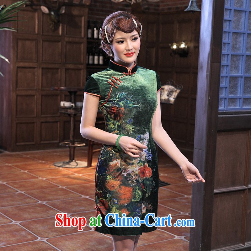 Dresses 2014 summer new stamp duty velour cheongsam spring loaded new improved retro, long-sleeved dresses fresh green 2 XL