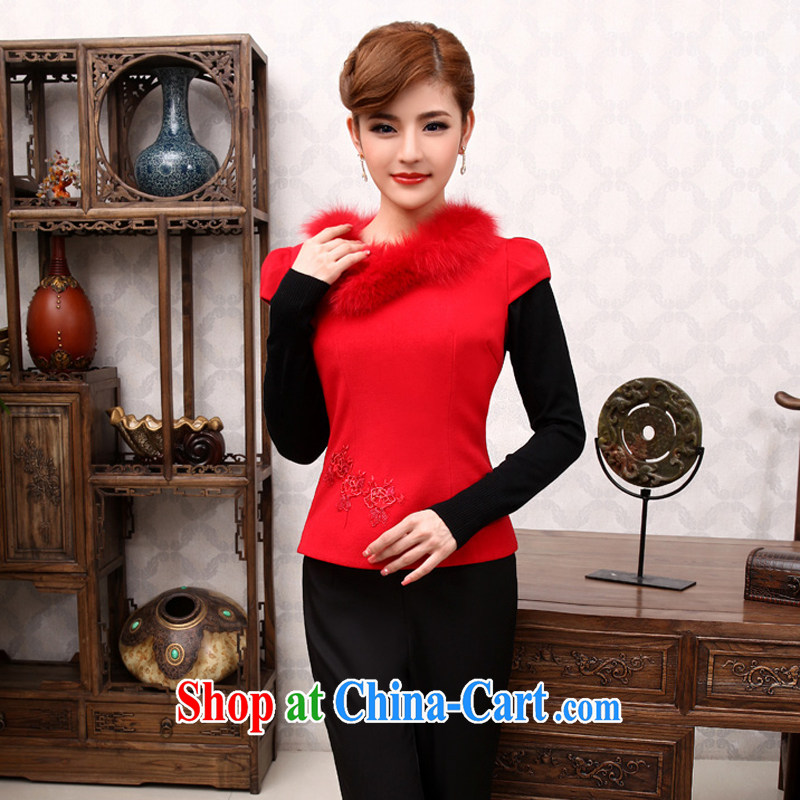 Dresses 2014 new Girls fall winter clothes and stylish short hair collar vest retro improved cheongsam shirt red 2XL