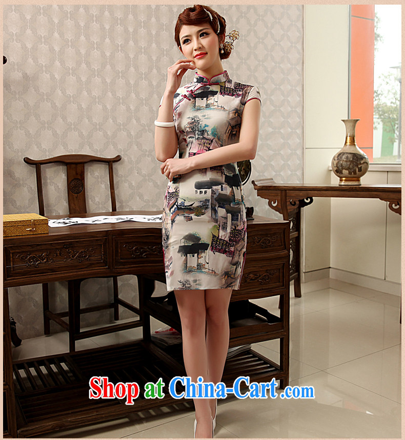 Dresses 2014 summer new Ice silk improved stylish retro daily short Chinese qipao dress white XXL pictures, price, brand platters! Elections are good character, the national distribution, so why buy now enjoy more preferential! Health