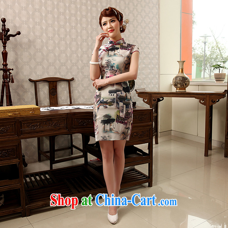 Dresses 2014 summer new Ice silk improved stylish retro daily short Chinese qipao dress white XXL