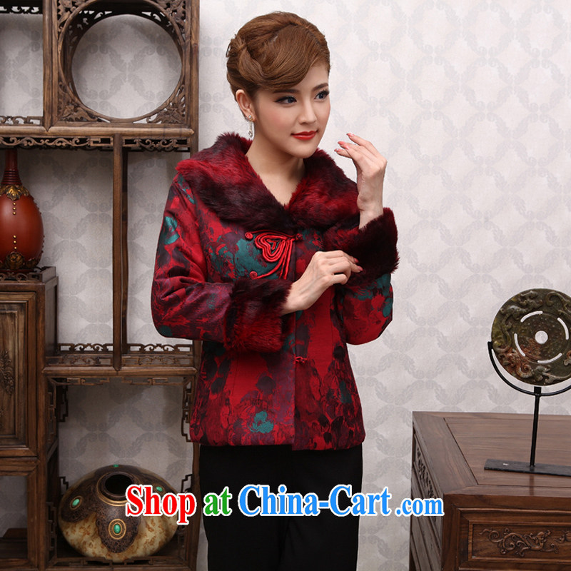 Dresses 2014 new Ms. replacing winter clothes Chinese elderly in quilted coat jacket MOM Replace X 625 red 2 XL