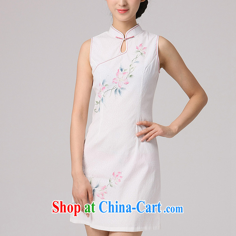 cheongsam dress summer new cheongsam dress daily improved modern Chinese short sleeves cheongsam fresh stamp, white collar XXL
