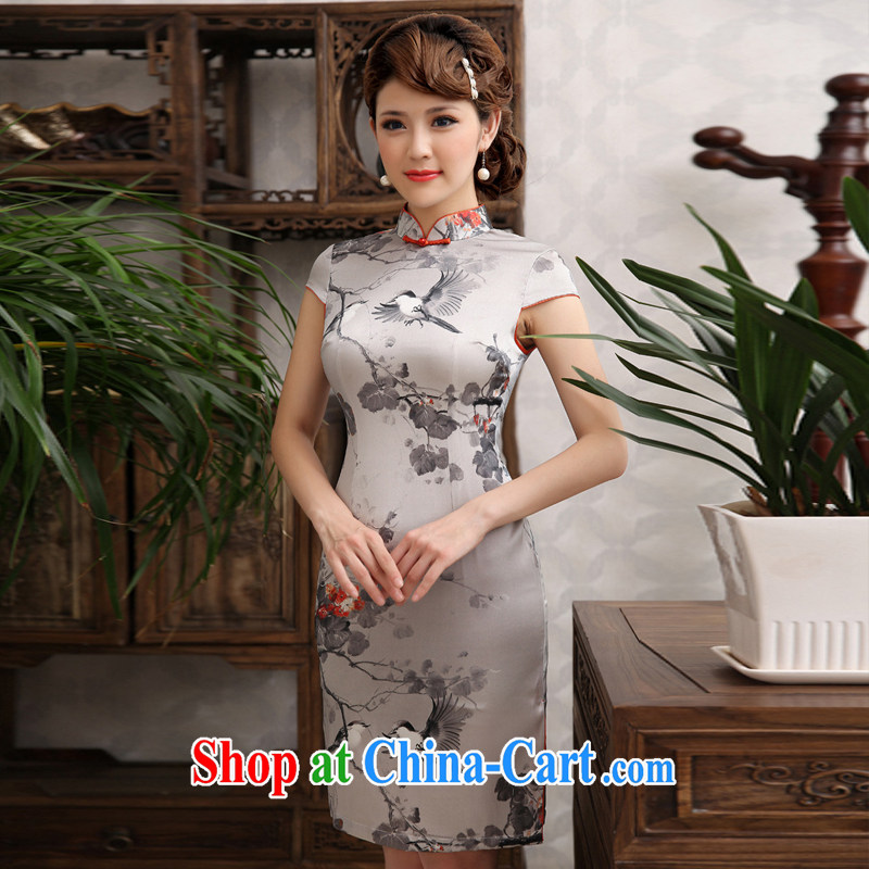 qipao hi bird welcome 2014 standard sauna Silk Clothes national water and ink beauty retro improved Silk Cheongsam short gray XXL