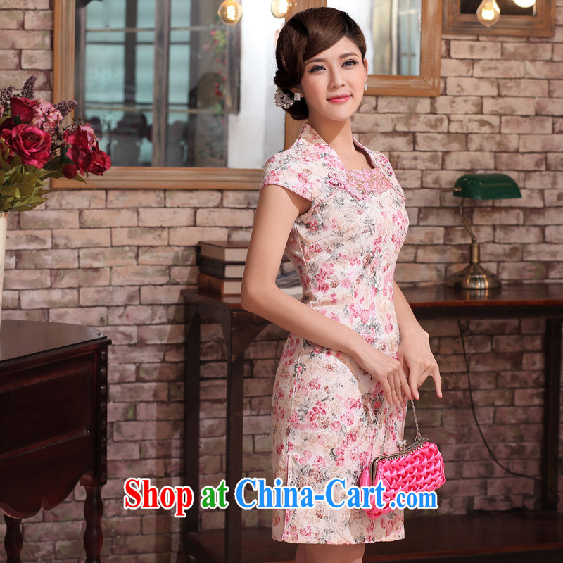 Dresses 2014 new summer short, cultivating improved stylish autumn antique dresses skirt retro daily female cheongsam pink XXL