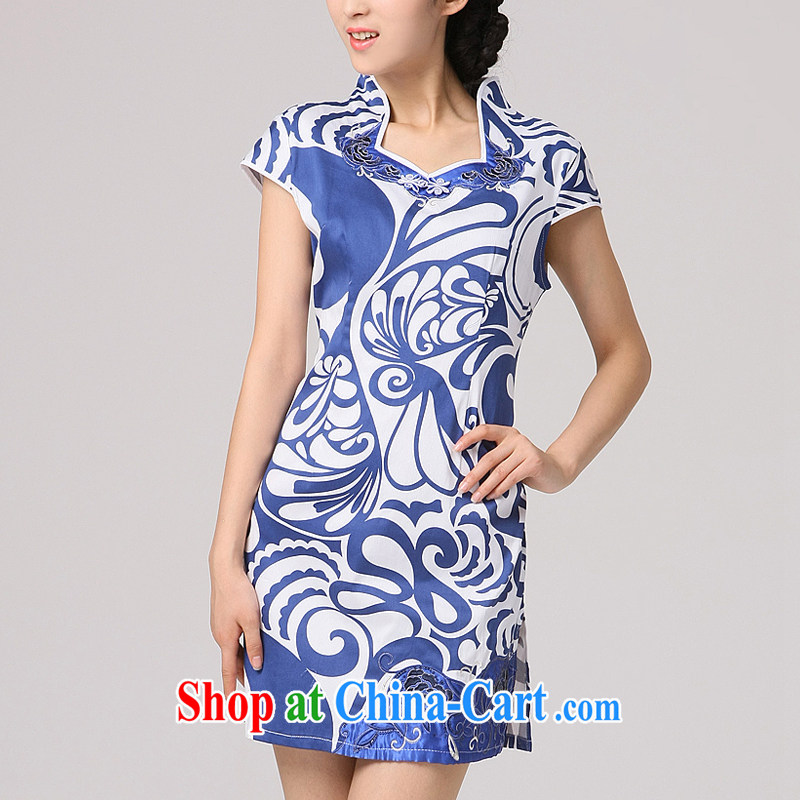 Dresses 2014 summer blue and white porcelain cheongsam dress Autumn with improved Stylish retro cultivating Chinese qipao graphics thin blue floral XXL