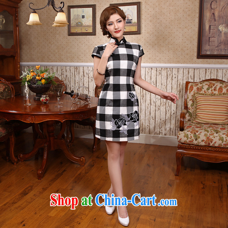 Dresses 2014 summer, children with retro improved stylish girl stamp Korea dresses black-and-white robes black-and-white, 2 XL