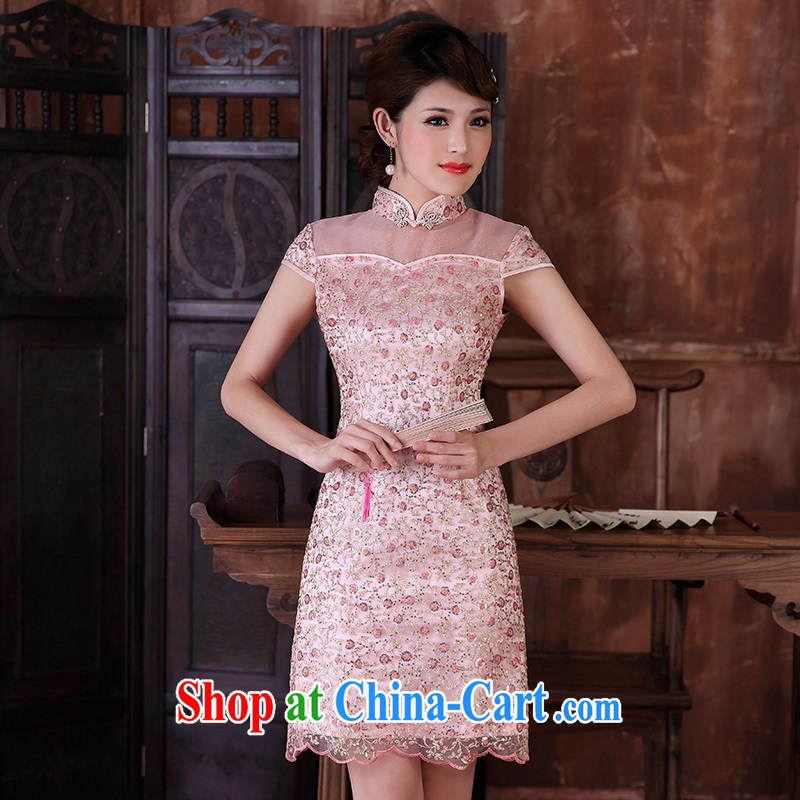 Dresses 2014 summer dresses high fashion improved lace cuff in cheongsam dress Chinese bride toast cheongsam pink XXL