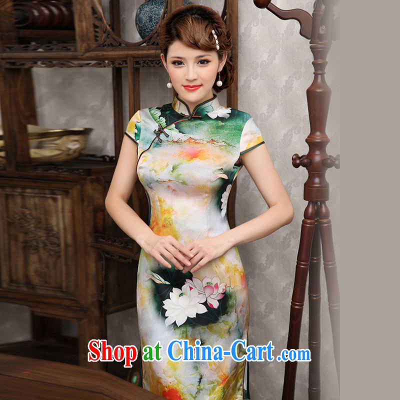 Dresses 2014 summer national style in a new, retro style beauty improved dress ink Lotus stamp cheongsam floral XXL