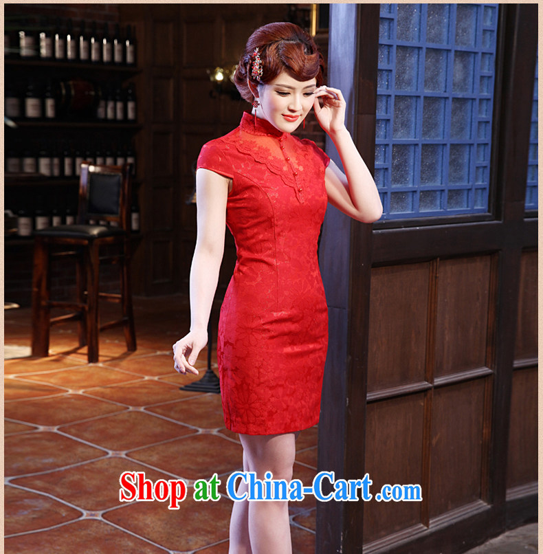 Dresses 2014 summer new lace stylish retro short cheongsam dress improved daily outfit pink XXL pictures, price, brand platters! Elections are good character, the national distribution, so why buy now enjoy more preferential! Health