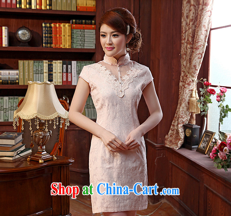 Dresses 2014 summer new lace stylish retro short cheongsam dress improved daily outfit pink XXL