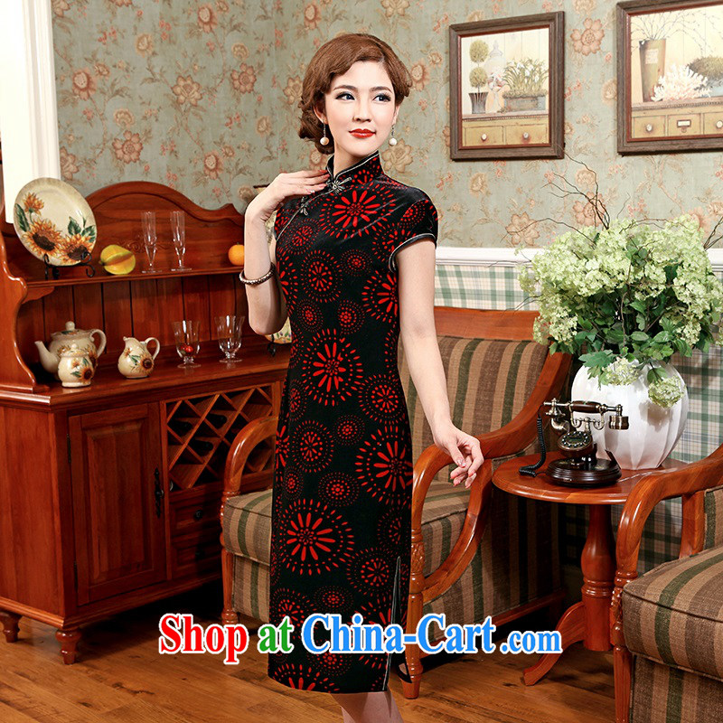Dresses 2014 winter new improved stylish embroidery cultivating short-sleeved retro daily girl cheongsam dress black 3 XL